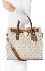 Michael Kors Imported Tote in Vanilla with Tan MK logo