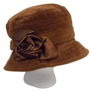 Coldwater Creek Coldwater Creek Velvet Cloche Bucket Brown Sienna Satin Rose Lined Hat