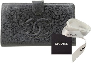 Chanel (GREAT CONDITION-SHIP TODAY) Authentic Long Wallet Black Caviar Leather CC Logo Bifold Kisslock Coin Case Clutch