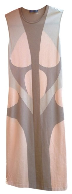 Item - Natural Geometric Tones Of Pink Nude Natural Elegant Party Mid-length Work/Office Dress Size 8 (M)