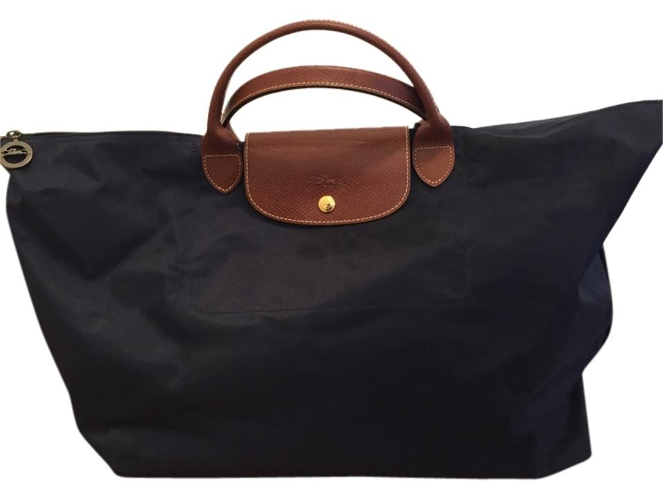 Longchamp Le Pliage Large Navy Nylon Leather Weekend Travel Bag ... c071f4ec17c3a