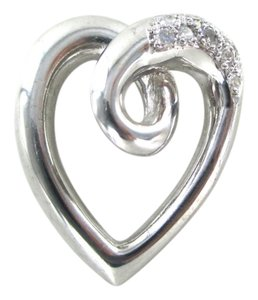14K WHITE GOLD HEART 10 DIAMONDS SLIDE PENDANT FINE JEWELRY NO SCRAP LOVE JEWEL