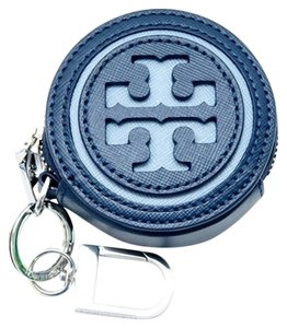 Tory Burch NEW TORY BURCH LOGO PERFORATED CIRCLE COIN POUCH KEY FOB HUDSON BLUE