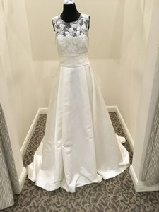 Pronovias Off White Satin Dalia Vintage Wedding Dress Size 10 (M)