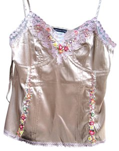Powerline Embellished Embroidered Lace Trim Sequin Silk Top mocha