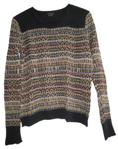Theory Linen/silk Black And Multi Sweater