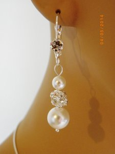 White Swarovski Crystal Pearl Rhinestone Crystal Bridesmaid Gifts Earrings