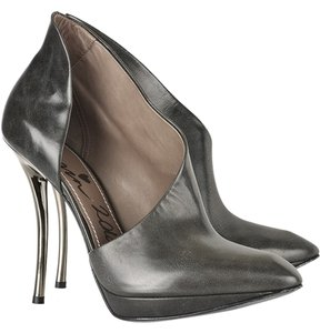 Lanvin Grey with Metallic Silver Heel Boots