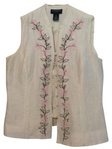 Ann Taylor Top Beige with Floral Detailing