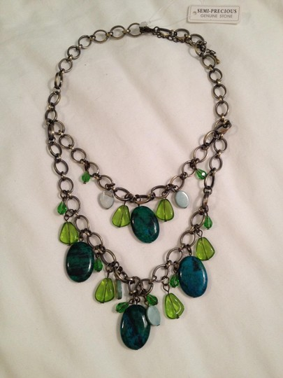 Boutique Spangles Double strand semi-precious stone necklace and earring set