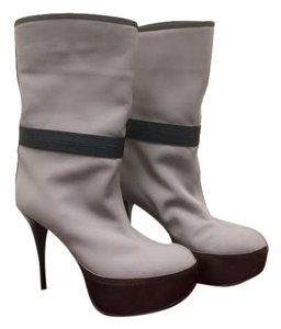 Marni Linen Leather Midcalf Light gray Boots