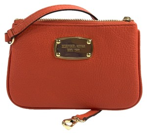 Michael Kors Michael Kors Jet Set Clementine Red Pebbled Leather Wristlet
