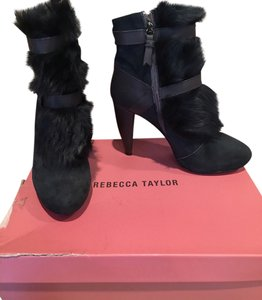 Rebecca Taylor Fur Bootie Grey/Teal Boots