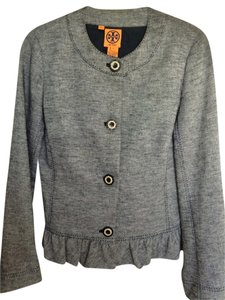 Tory Burch Stitching On Buttons grey/blue Jacket