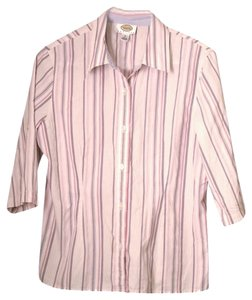 Talbots Striped Button Down Shirt multi-color pink lavender