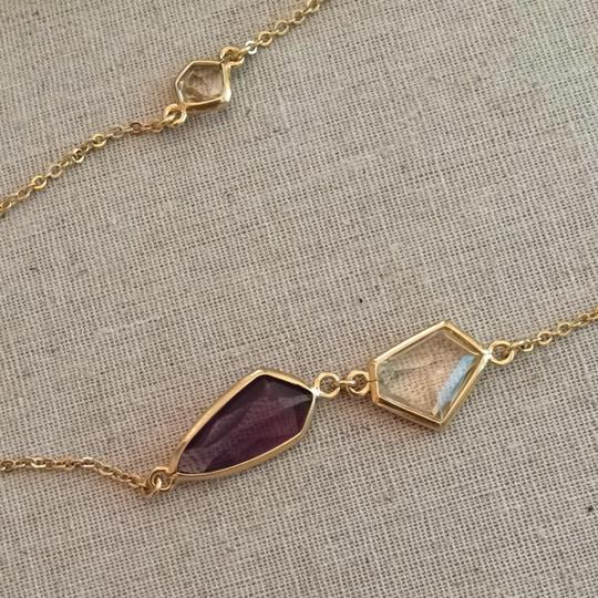 Stella & Dot Pippa Necklace - Purple And Clear Crystals W/ Gold Plated Brass Chain