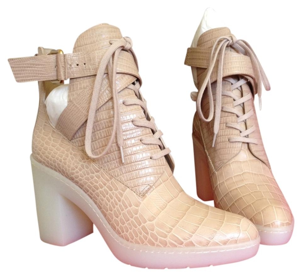 Alexander Wang Beige Jill Leather Cutout Almond Croc Embossed Leather Jill Ankle Boots/Booties 836e2e