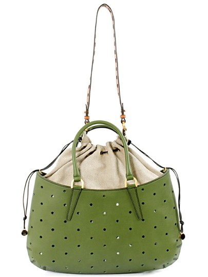 Fendi Leather Perforated Drawstring Linen Summer Spring Gold Hardware Logo Tote in Green