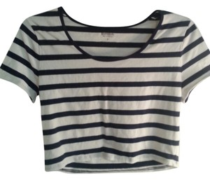 Express Stripe Crop Short Sleeve T Shirt Navy/Cream