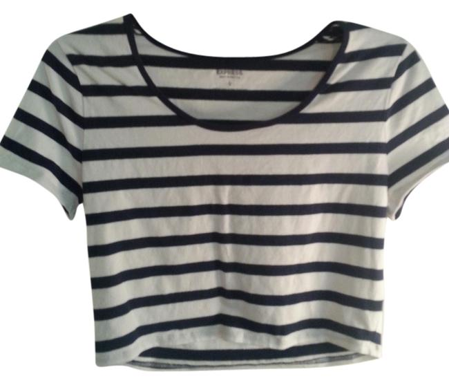 Preload https://img-static.tradesy.com/item/990962/express-navycream-stripe-crop-sleeve-tee-shirt-size-12-l-0-0-650-650.jpg