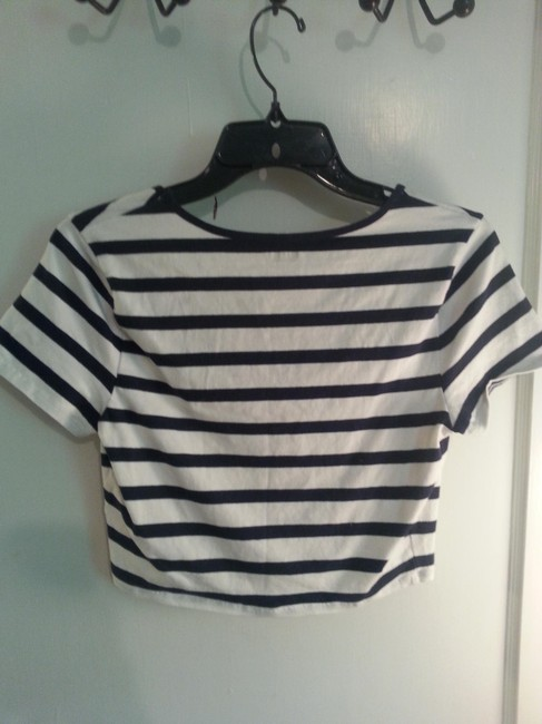 Express Stripe Crop Sleeve T Shirt Navy/Cream