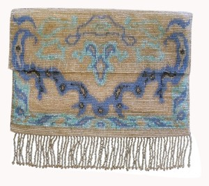 Vintage Hand-beaded blue, turquoise, gold Clutch
