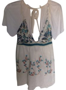 Free People Top White & Teal