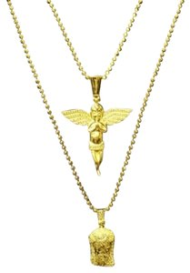 Other 14k Gold Finish Simulated Diamond Silver Angel And Jesus Pendant Combo Chain
