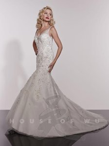 House of Wu White Heavy Over Netting 18935 Sexy Wedding Dress Size 4 (S)