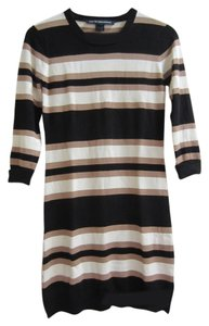 French Connection short dress Black/Tan/Ecru Striped Knit Short Fall on Tradesy