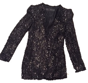 Zara Sequin Stylish Long BLACK Blazer