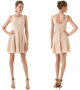 Rachel Zoe short dress Beige Wool Shift Pleated Scoop Neck on Tradesy