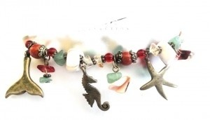Marineblu Marine Charm Seahorse Starfish Stretch Bracelet Beaded jewelry NEW