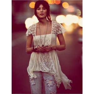 Free People On A Whim Lace Top Ivory