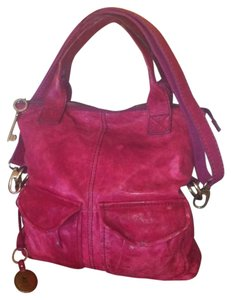 Fossil Modern Cargo Leather Lambskin Red Hot Pink Convertible Satchel Long Strap Cross Body Bag