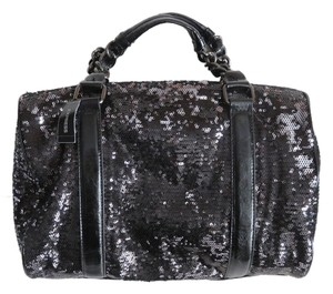 Express Sequins Faux Leather Handbag Satchel in Black, Silver