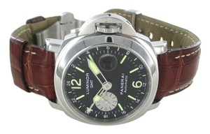 Panerai PANERAI GMT STEEL LEATHER BAND WATCH MEN FIRENZE 1860 OFFICINE STEEL AUTOMATIC