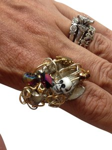 New Handmade Skull & Heart Twisted Metal Ring