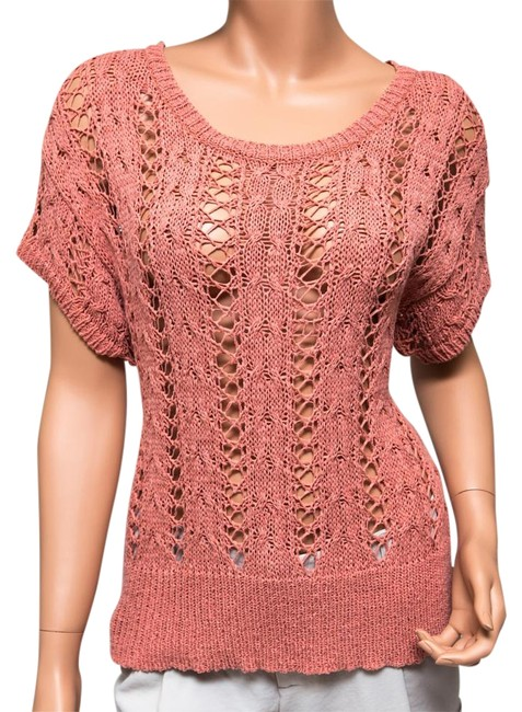 Preload https://item2.tradesy.com/images/cynthia-rowley-peach-salmon-crochet-sweaterpullover-size-10-m-9913306-0-3.jpg?width=400&height=650