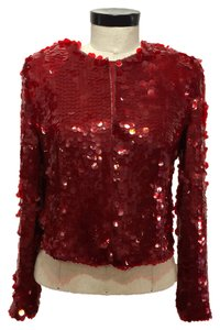 Armani Collezioni Sequins Silk Lining Top Red