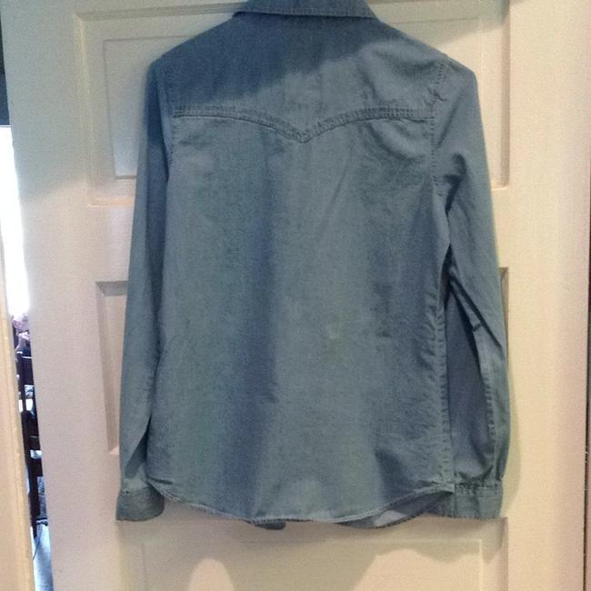 Forever 21 Button Down Shirt Faded Blue