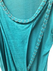 Sachin + Babi Silver Chain Drape Cotton Silk Halter Chic Edgy Top Turquoise Blue