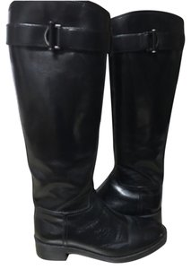 Tory Burch Riding Flat Leather Black Boots