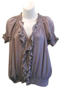 Joie Silk V-neck Top Grey