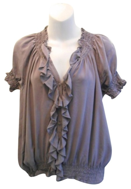Preload https://item5.tradesy.com/images/joie-grey-silk-button-with-ruffle-detail-blouse-size-6-s-9914374-0-1.jpg?width=400&height=650