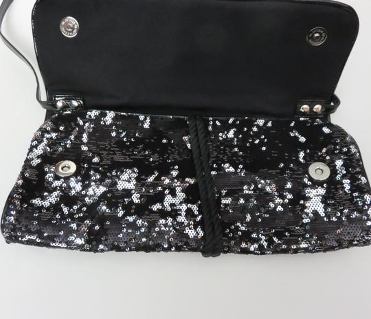 White House | Black Market Sequin Faux Patent Leather Purse Whbm Black, Silver Clutch