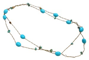 Anthropologie blue turquoise link necklace