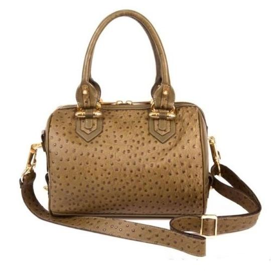 CC SKYE Ostrich Leather Luxury Gold Hardware Tote in Olive