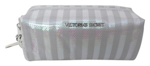 Victoria's Secret Nwt Victoria's Secret White and Clear Makeup Bag With Pink Sequins