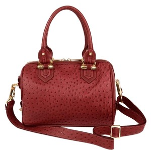 CC SKYE Ostrich Leather Luxury Tote in Merlot